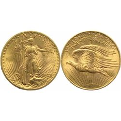 1908 $20 Saint-Gaudens Gold Double Eagle Coin No Motto BU