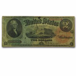 "RARE 1869 $2.00 Legal Tender ""Rainbow"" VF"