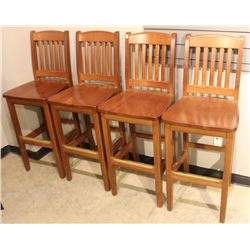 LOT OF 4 WOODEN BAR STOOLS