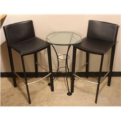 GLASS SIDE TABLE AND 2 LEATHERETTE BAR STOOLS