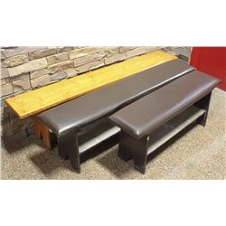 LOT OF 3 BENCHES - 2 PADDED, 1 WOODEN