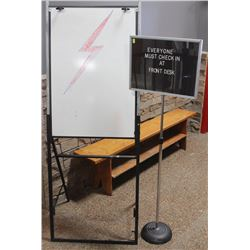 EASLE WHITEBOARD AND ADVERTISEMENT SIGN
