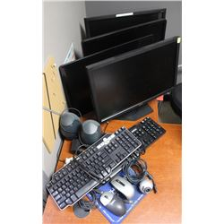 LOT 4 DELL MONITORS, 2 KEYBOARDS, MICE, SPEAKERS