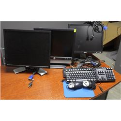 LOT OF 3 DELL MONITORS, 2 KEYBOARDS AND MICE