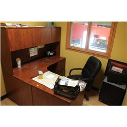 L-SHAPED OFFICE DESK WITH HUTCH, CHAIR, FILING