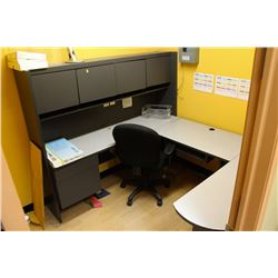 U-SHAPED OFFICE DESK WITH HUTCH, CHAIR, LAMP AND