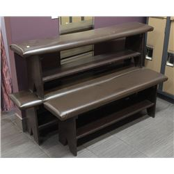 LOT OF 3 BROWN LEATHERETTE BENCHES