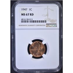 1947 LINCOLN CENT, NGC MS-67 RED