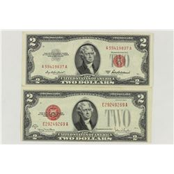 1928-G & 1953-A $2 US NOTES RED SEALS