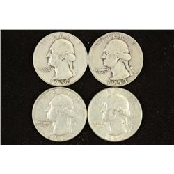 1952-S,53-D,63-D & 64-D WASHINGTON SILVER QUARTERS