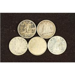 1941, 46, 62, 65 AND 68 CANADA SILVER 10 CENTS