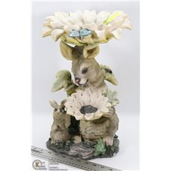 RABBIT AND FLOWER SHAPE LAWN ORNAMENT
