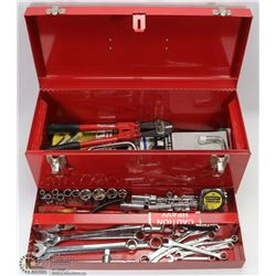 RED METAL TOOL BOX WITH CONTENTS INCL SOCKETS,