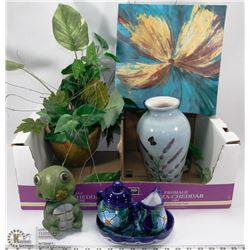 LOT OF HOME DECOR INCL BOBBLE TURTLE , VASE