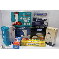 ESTATE BOX OF KITCHEN ITEMS, AUTOMOTIVE ITEMS,