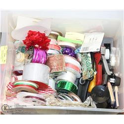 BOX WITH CRAFT SUPPLIES AND RIBBON INCL HOLEPUNCH