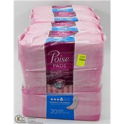 4 PACKS OF POISE PADS LEVEL 4 ABSORBENCY