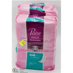 4 PACKS OF POISE PADS LEVEL 3 ABSORBENCY