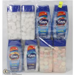 8 ASSORTED LARGE TUBS OF TUMS ANTACID