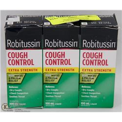 LOT OF 3 ROBITUSSIN COUGH CONTROL EXTRA STRENGTH