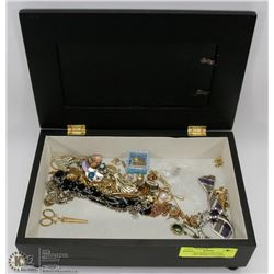 EMBOSSED JEWELRY BOX W/PICTURE FRAME LID COMES
