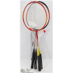 2 PAIRS OF BADMINTON RACKETS WITH SHUTTLECOCKS