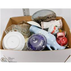 #47) BOX OF CRYSTAL AND ASSORTED CHINA