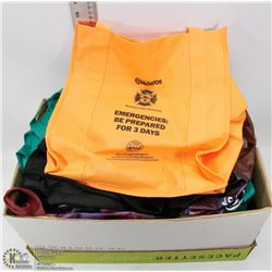 #51) BOX OF OVER 25 NEW REUSABLE SHOPPING BAGS