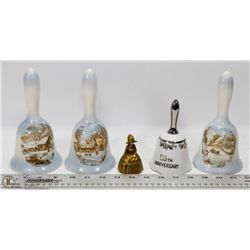 LOT OF 5 ASSORTED COLLECTIBLE BELLS INCL PORCELAIN