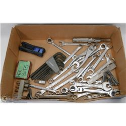 FLAT OF ASSORTED WRENCHES &  MORE