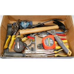 FLAT OF PLIERS AND ASSORTED TOOLS