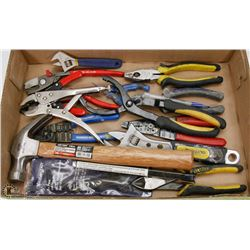FLAT OF ASSORTED PLIERS & MORE