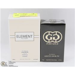 2 BOTTLE OF ELEMENT VERSION OF LACOSTE AND PURE