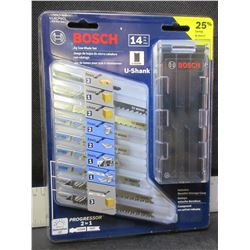 New Bosch 14 piece Jig Saw Blade Set with storage case