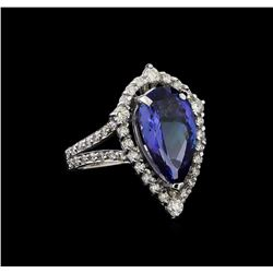4.52 ctw Tanzanite and Diamond Ring - 14KT White Gold