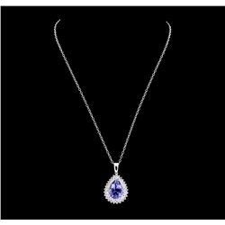 10.79 ctw Tanzanite and Diamond Pendant With Chain - 14KT White Gold