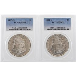 Lot of 1884-O & 1885-O $1 Morgan Silver Dollar Coins PCGS MS63