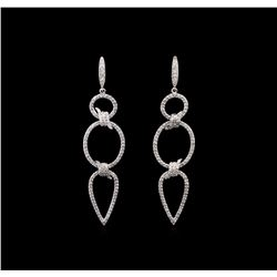 1.15 ctw Diamond Earrings - 14KT White Gold