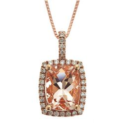 1.98 ctw Morganite and Diamond Pendant - 10KT Rose Gold