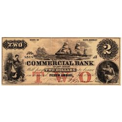 1856 $2 Commercial Bank Of New Jersey - Obsolete Bank Note