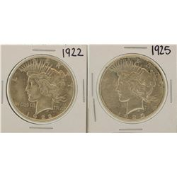 Lot of 1922 & 1925 $1 Peace Silver Dollar Coins
