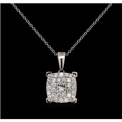 1.40 ctw Diamond Pendant With Chain - 18KT White Gold