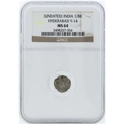 India 1/8 Rupee Hyderabad Y-14 Coin NGC MS64