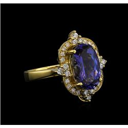 5.13 ctw Tanzanite and Diamond Ring - 14KT Yellow Gold