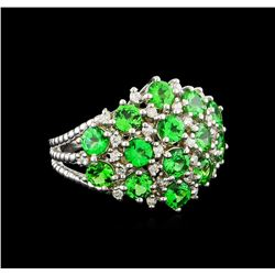 2.97 ctw Tsavorite and Diamond Ring - 14KT White Gold