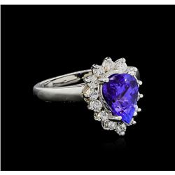 1.88 ctw Tanzanite and Diamond Ring - 14KT White Gold