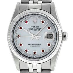 Rolex Mens Stainless Steel Mother Of Pearl Diamond & Ruby Datejust Wristwatch