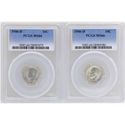 Lot of (2) 1946-D Roosevelt Dime Coins PCGS MS66