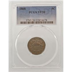 1868 Shield Nickel Coin PCGS VF20