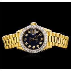Rolex 18KT Gold President Diamond DateJust Ladies Watch